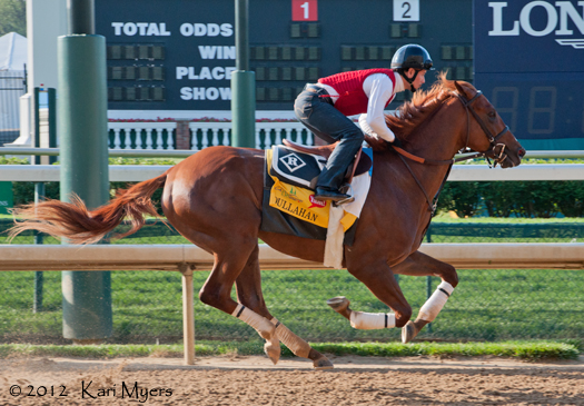 May 2, 2012: Dullahan gallops past the finish line in the morning.