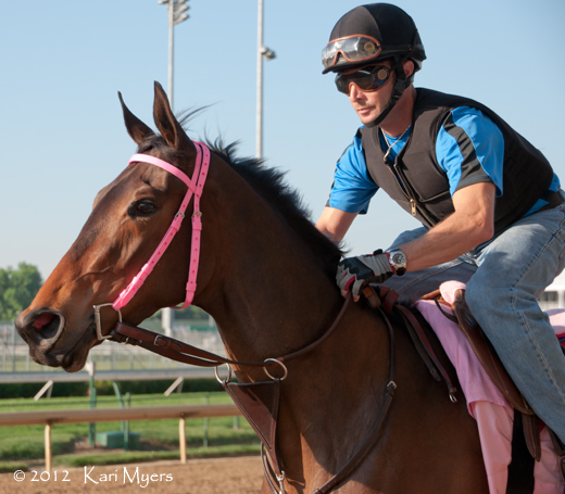 May 2, 2012: Oaks Lily warms up, jogging the wrong way around the track. Her connections were hoping to get her into the Kentucky Oaks, but she didn't quite make the cut.