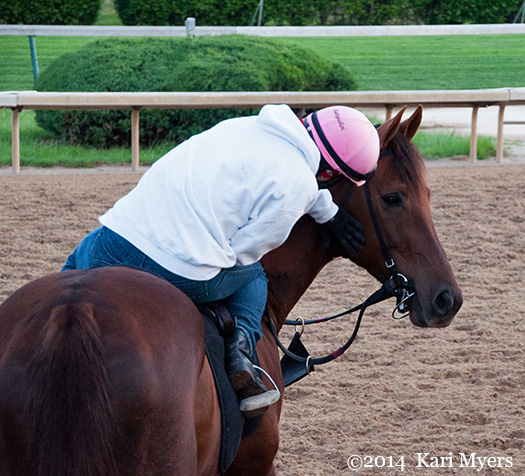 May 1, 2014: Jockey Greta Kuntzweiler and her lovely mount.