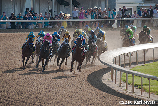 May 2, 2015: The Kentucky Derby field coming off the Clubhouse turn onto the backstretch, with American Pharoah widest of all.