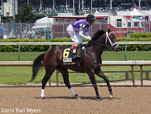 May 2, 2015: Competitive Edge warms up for the Pat Day Mile at Churchill Downs.