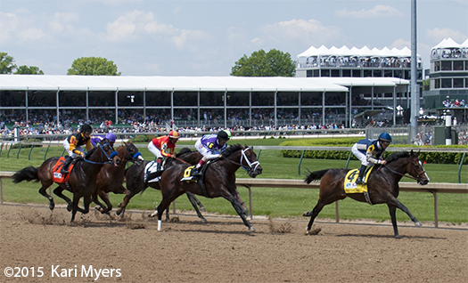 May 2, 2015: The field heads down the backstretch in the Pat Day Mile.